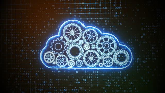 Blue Crypto Cloud Computing Concept