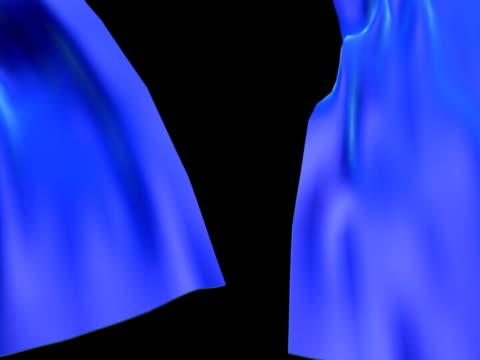 tenda blu aperto - sipario video stock e b–roll