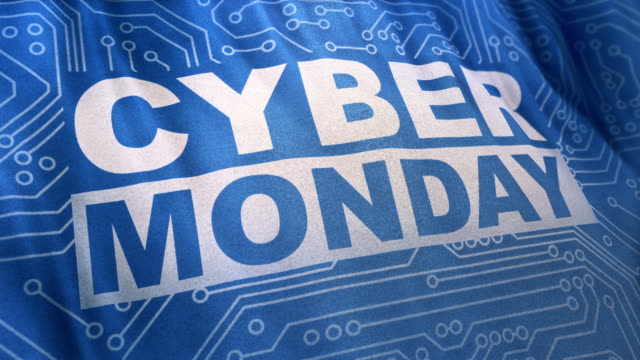 Blue Cyber Monday concept banner Loop Cyber Monday concept banner in fashionable promotion flag style, waving cloth signboard, outdoor advertising advertisement of sales rebates of Cyber Monday. Looped 3D animation for your projects. cyber monday stock videos & royalty-free footage