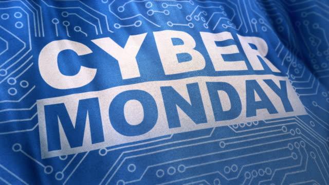 blue cyber monday concept banner loop - cyber monday стоковые видео и кадры b-roll