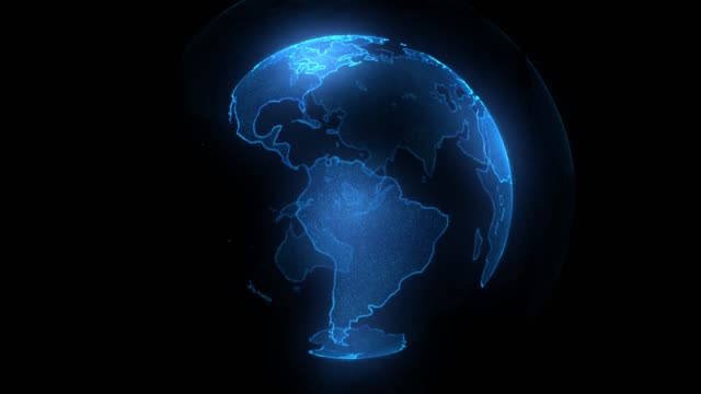 Blue Digital blue shinny globe of Earth. Rotation of glossy planet with glowing particles. 3D animation of space with digital Earth