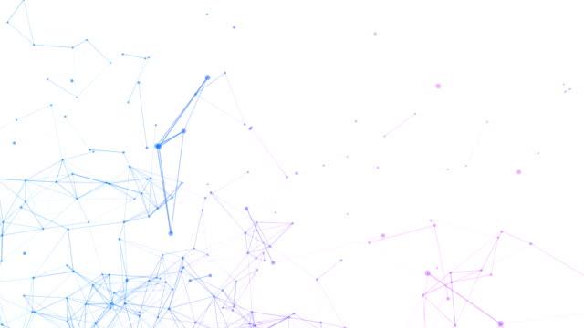vídeos y material grabado en eventos de stock de datos de la computadora digital azul y líneas de la red conexión triángulo y esferas en el concepto de tecnología futurista en fondo blanco. ilustración de diseño gráfico abstracto - plexo