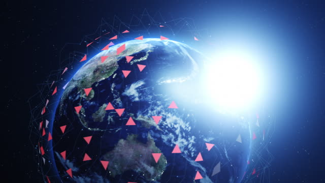 Blue digital earth slowly zooming out. Global network concept. video
