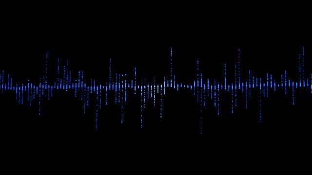 黒の背景にデジタルイコライザー オーディオの音の波を青垂直線で信号をステレオ サウンド効果 - 音波点の映像素材/bロール