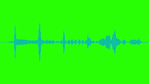 onde sonore dello spettro audio dell'equalizzatore digitale blu sullo sfondo verde del tasto crominanza, segnale di effetto sonoro stereo con - onda video stock e b–roll