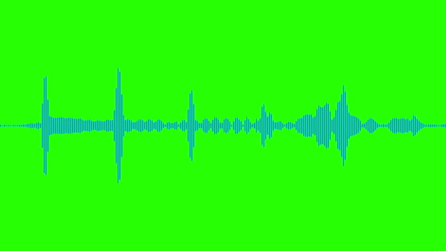 blue digital equalizer audio spectrum sound waves on chroma key green screen background, stereo sound effect signal with vertical video