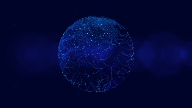 Blue Digital Globe With City Lights video