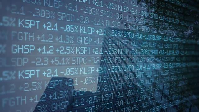 blue digital ominous stock market ticker scrolling past skyscraper - wall street concept - кепка стоковые видео и кадры b-roll