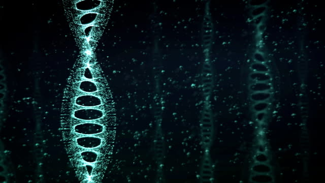 Blue DNA Strand slow motion - 3D Animation video
