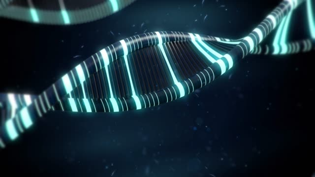 Blue DNA with glow effects slow animation video