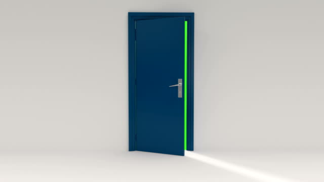 Blue Door opening with Alpha Channel and green screen