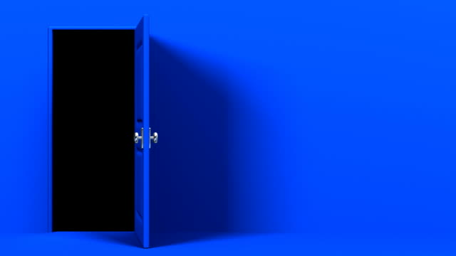 Blue Door With Text Space And Dark Room Stock Video