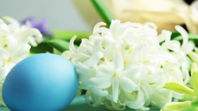 Blue easter eggs, candles and white hyacinth on blue concrete table surface background, copy space for you text. Festive background. Happy Easter greeting card. video