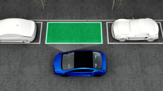 Blue electric car driving into parking lot navigated with parking assist system video