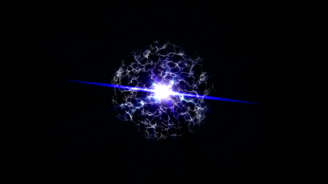 4K blue energy ball with plasma beam radiation electric rays Blue abstract energy ball elements. 4K blue energy ball with beam radiation electric rays and fade in plasma animation. changing form stock videos & royalty-free footage