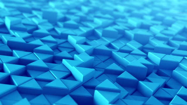 Blue extruded triangles techno animation 3D render loopable video