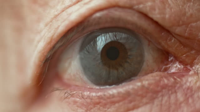 ECU Blue eye of a senior person video