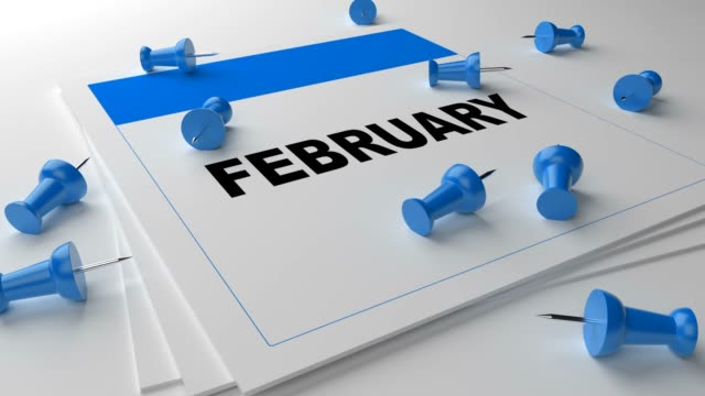 Blue February Calendar On White Background With Blue Pins