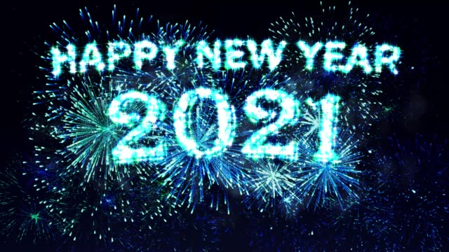 Blue Fireworks Display Happy new year 2021 video