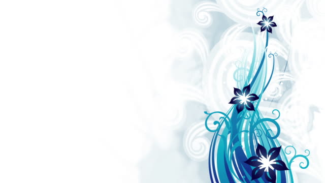 Blue Floral Animation - Loop Professionally created floral colorful abstract background animations. Copy space is available for custom text and graphics. High quality render, banding free, minimum compression for highest quality. floral pattern stock videos & royalty-free footage