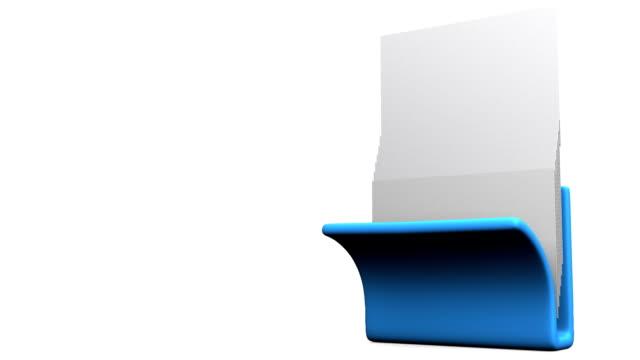 vídeos de stock e filmes b-roll de azul pasta e documentos em branco espaço de texto - dossier