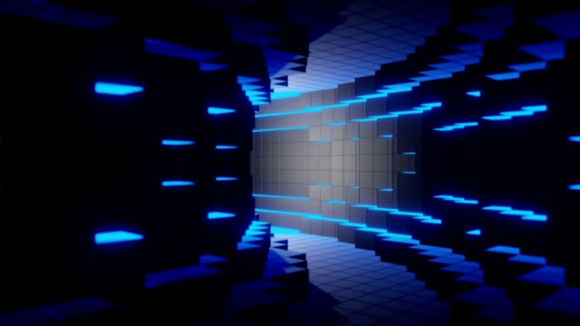 Blue futuristic digital technologic tunnel background animation 3d rendering