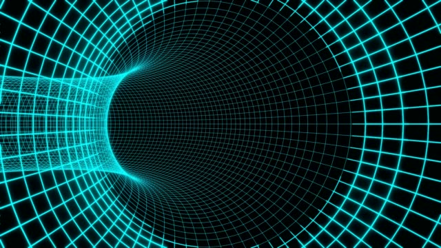 Blue futuristic digital technologic tunnel Black hole animation 3d rendering