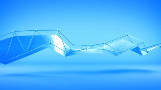 Blue futuristic shape. Seameless loop 3D render animation video