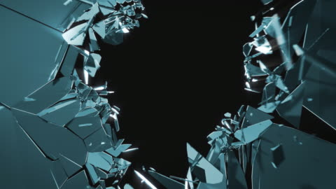 vidéos et rushes de verre bleu mur explosion - en verre