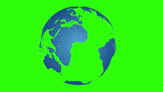 vídeos de stock, filmes e b-roll de globo azul girando sobre croma - planet