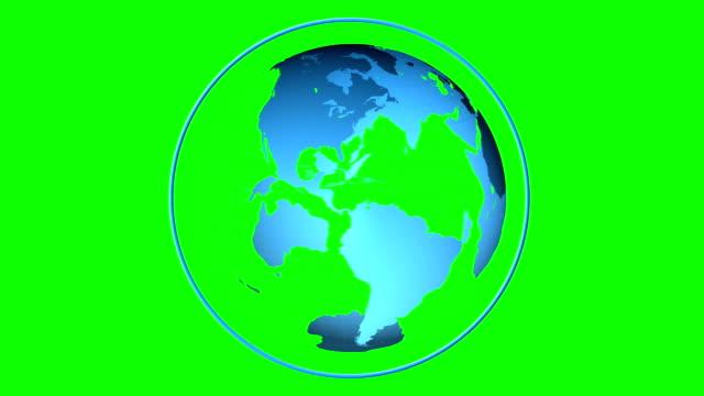vídeos de stock e filmes b-roll de azul globo girar sobre fundo verde de ecrã - green world