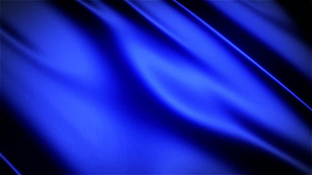 blu lucido panno satinato realistico loop senza cuciture waving animazione - bandiera video stock e b–roll