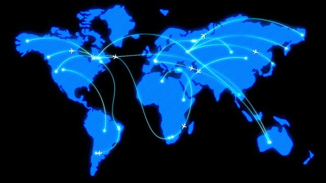 blå glödande karta med platt animerad flygplan - map oceans bildbanksvideor och videomaterial från bakom kulisserna