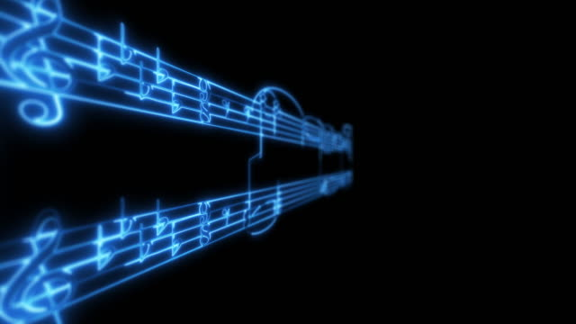 Blue glowing neon composition sheet music on a black background