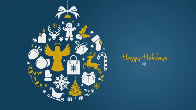 Blue Golden minimal Christmas ball with Happy Holidays text
