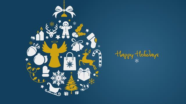 vídeos de stock e filmes b-roll de blue golden minimal christmas ball with happy holidays text - christmas card