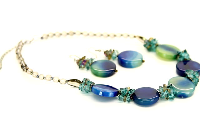 Blue Green Necklace and Earrings HD video