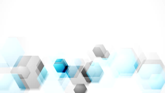 Blue grey bright abstract hexagons tech video animation video