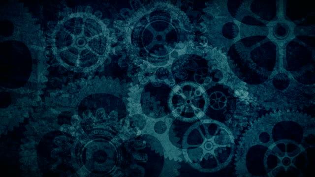 Blue Grunge Turning Gears Background Loop video