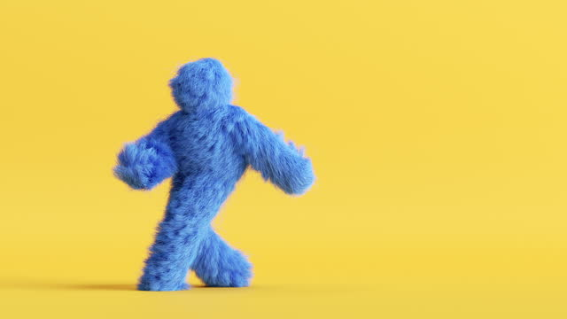 blue hairy 3d cartoon character dancing on yellow background, person wearing furry costume, funny mascot looping animation, modern minimal seamless motion design blue hairy 3d cartoon character dancing on yellow background, person wearing furry costume, funny mascot looping animation, modern minimal seamless motion design fluffy stock videos & royalty-free footage