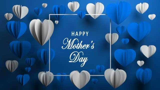 Blue Happy Mother's Day Hearts Happy Mother's Day, Heart Shape, Holiday Card, Background mothers day stock videos & royalty-free footage