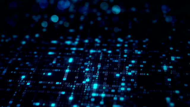 Blue hexadecimal big data digital code seamless loop animation video