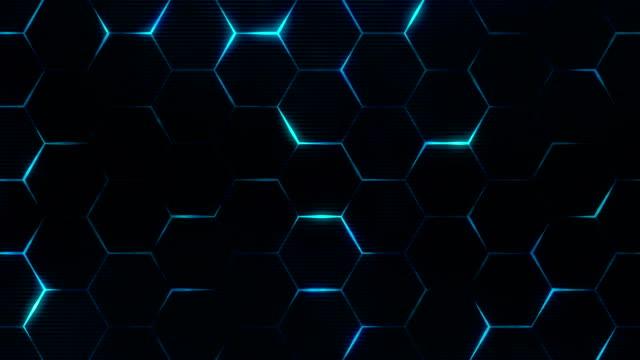 blue hexagon pattern for futuristic grid concept. seamless loop. - esagono video stock e b–roll
