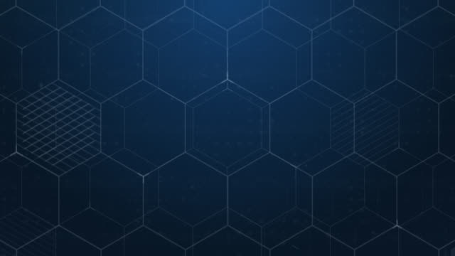 blue hexagons abstract background. digital technology background - esagono video stock e b–roll