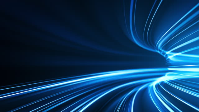 Blue High Speed Light Streaks Background - Abstract, Data Transfer, Bandwidth - Loopable