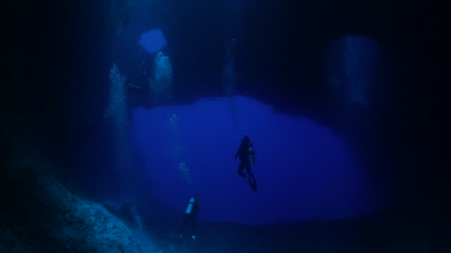 Blue Hole: Undersea cavern, Palau Underwater, Palau - May 28, 2017 : Scuba diving undersea (2017_0520_0531-0528_1214_A) deep stock videos & royalty-free footage