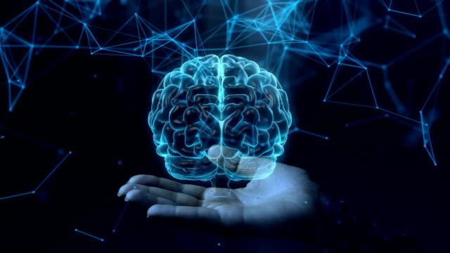 青いホログラム人間の脳の構造は、女性の手で回転します。 - コントロール点の映像素材/bロール