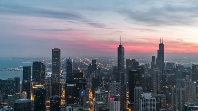 T/L HA TD Blue hour over Chicago, Sunset to Night Transition / Illinois, US Chicago skyline chicago stock videos & royalty-free footage