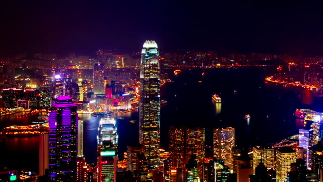 Blue hour time-lapse of Hong Kong – ZOOM OUT video