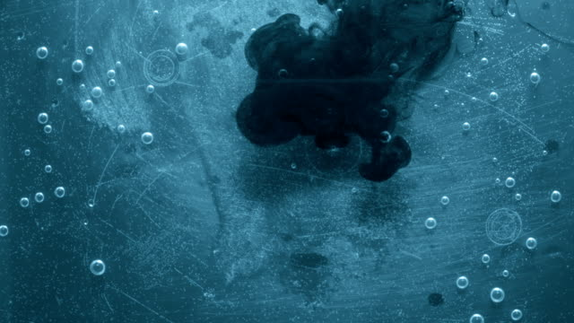 Blue ink in water video